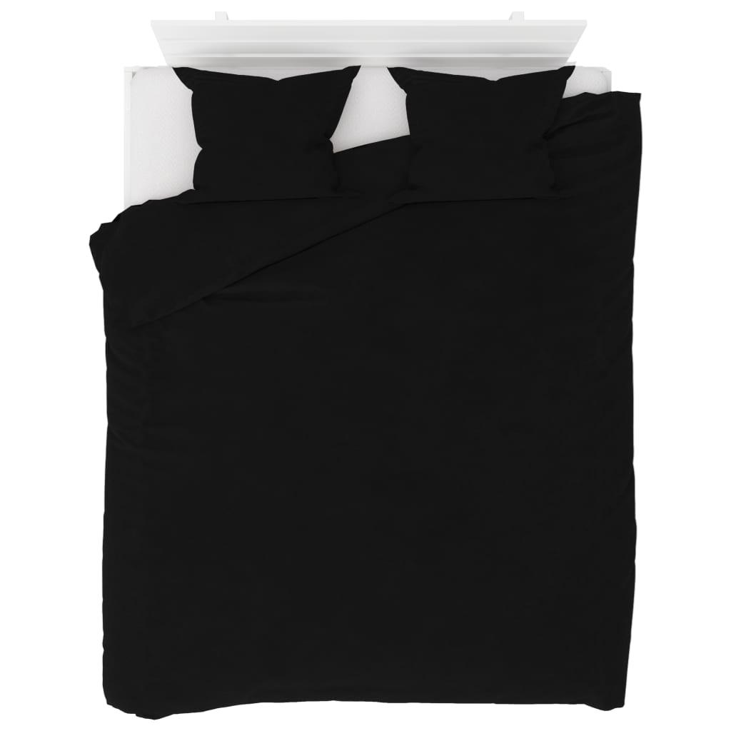 Sada povlečení fleece černá 200 x 220 / 60 x 70 cm