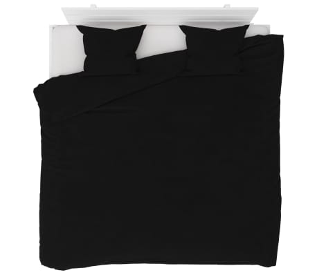vidaXL Bäddset fleece svart 240x220/60x70 cm