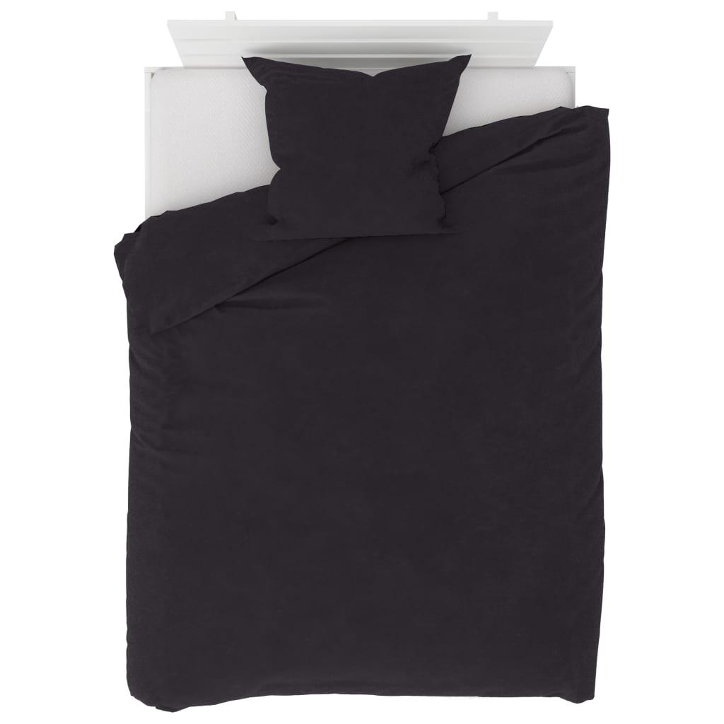 Sada povlečení fleece antracitová 155 x 200 / 80 x 80 cm