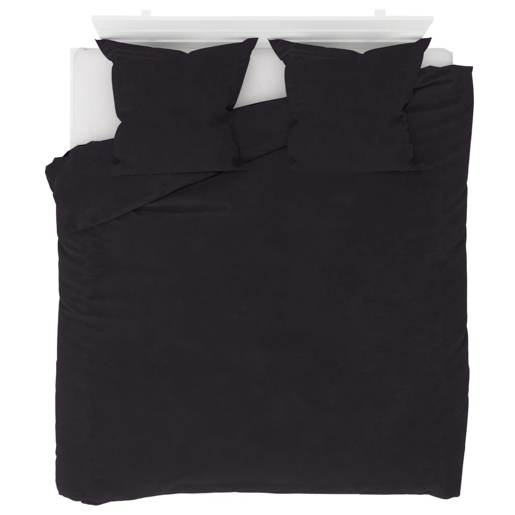 Sada povlečení fleece antracitová 200 x 200 / 80 x 80 cm