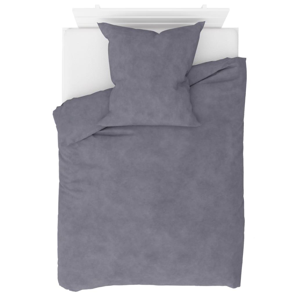 vidaXL 2dílná sada povlečení fleece šedá 135 x 200 / 80 x 80 cm