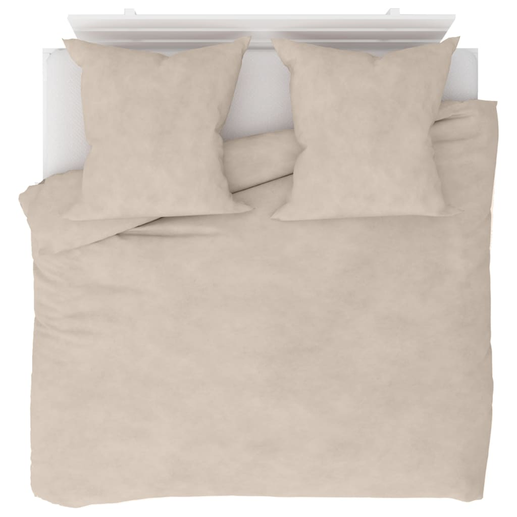 vidaXL Sada povlečení fleece béžová 200 x 200 / 80 x 80 cm