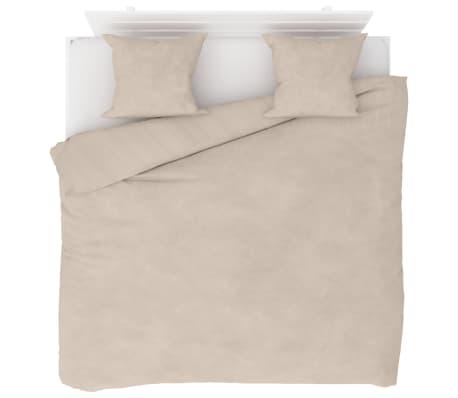 vidaXL Bäddset 3 delar fleece beige 240x220/60x70 cm[1/4]