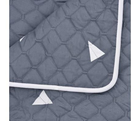 vidaXL Quiltat överkast mörkblå 230x260 cm tyg[4/4]