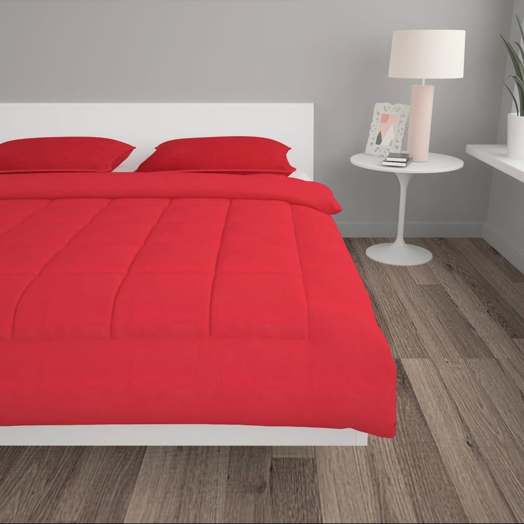 3-tlg. Winter-Bettdecken-Set Stoff Burgunderrot 200×200/80x80cm