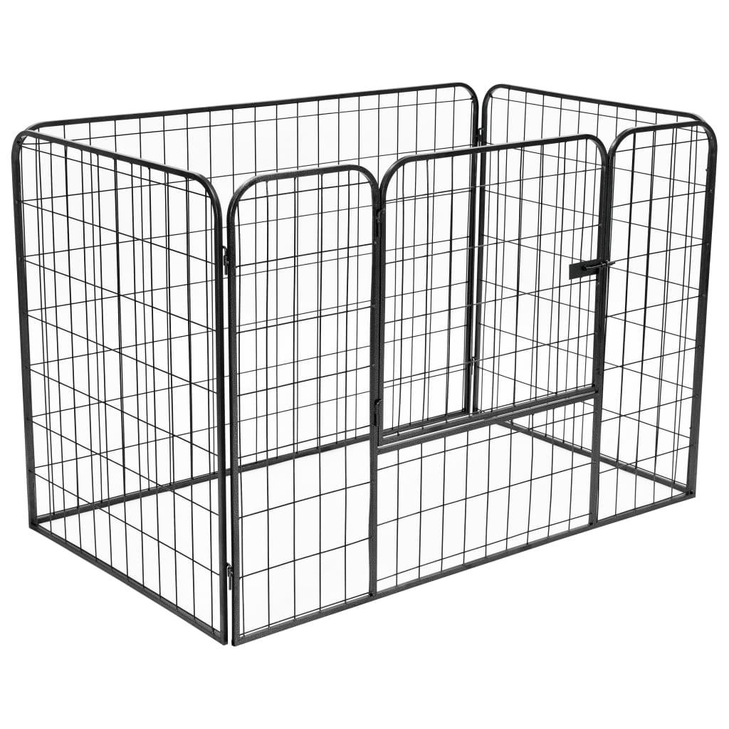 vidaXL Vysoce odolná ohrádka pro psy černá 120 x 80 x 70 cm ocel