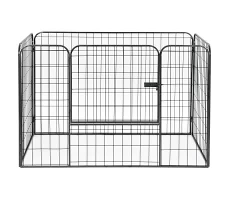 vidaXL Recinto per Cani Resistente Nero 120x80x70 cm in Acciaio[3/7]