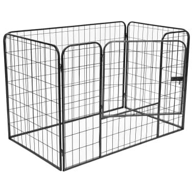 vidaXL Recinto per Cani Resistente Nero 120x80x70 cm in Acciaio[2/7]