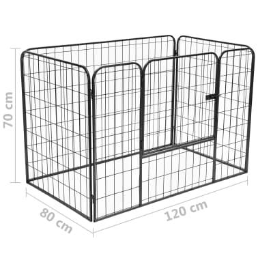 vidaXL Recinto per Cani Resistente Nero 120x80x70 cm in Acciaio[7/7]