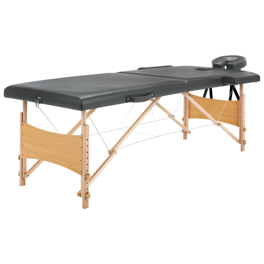 Masážní stůl se 2 zónami dřevěný rám antracitový 186 x 68 cm