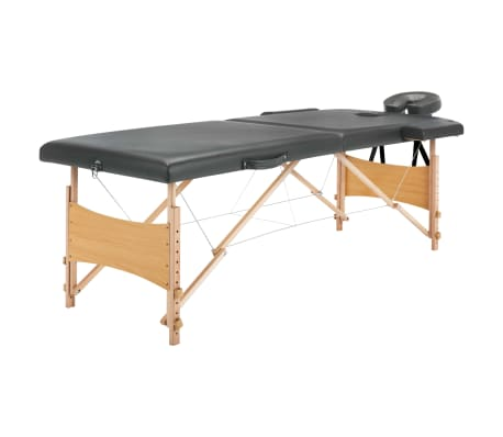 vidaXL Masažinis stalas, 2 zonų, antracito sp., 186x68cm, med. rėmas