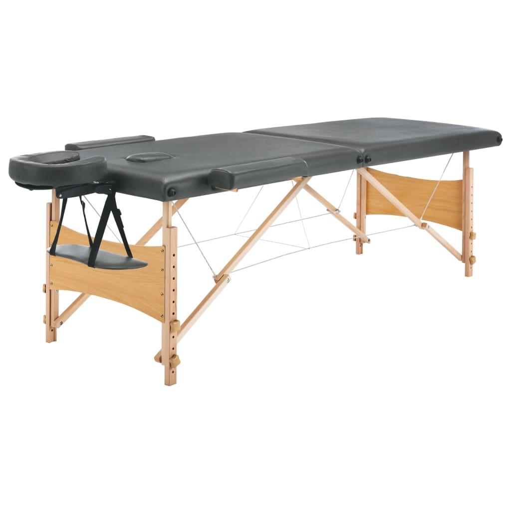 vidaXL Masážní stůl se 2 zónami dřevěný rám antracitový 186 x 68 cm