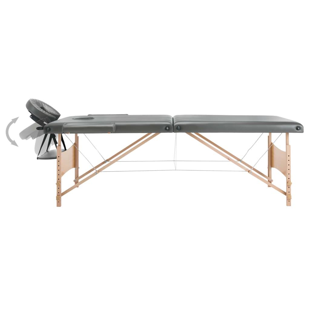 Massaažilaud 2 tsooniga, puitraam, antratsiithall, 186 x 68 cm