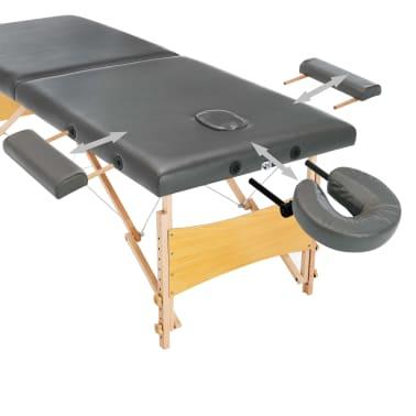 vidaXL Masă de masaj cu 2 zone, cadru din lemn, antracit, 186 x 68 cm[4/10]