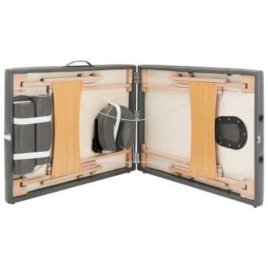 vidaXL Masă de masaj cu 2 zone, cadru din lemn, antracit, 186 x 68 cm[8/10]