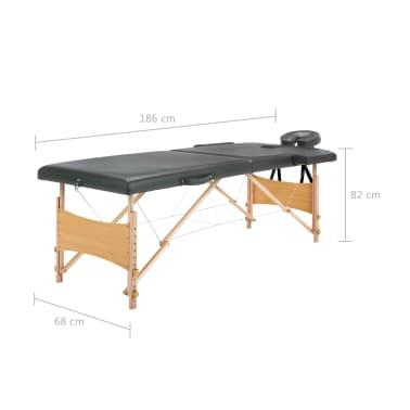 vidaXL Masă de masaj cu 2 zone, cadru din lemn, antracit, 186 x 68 cm[10/10]