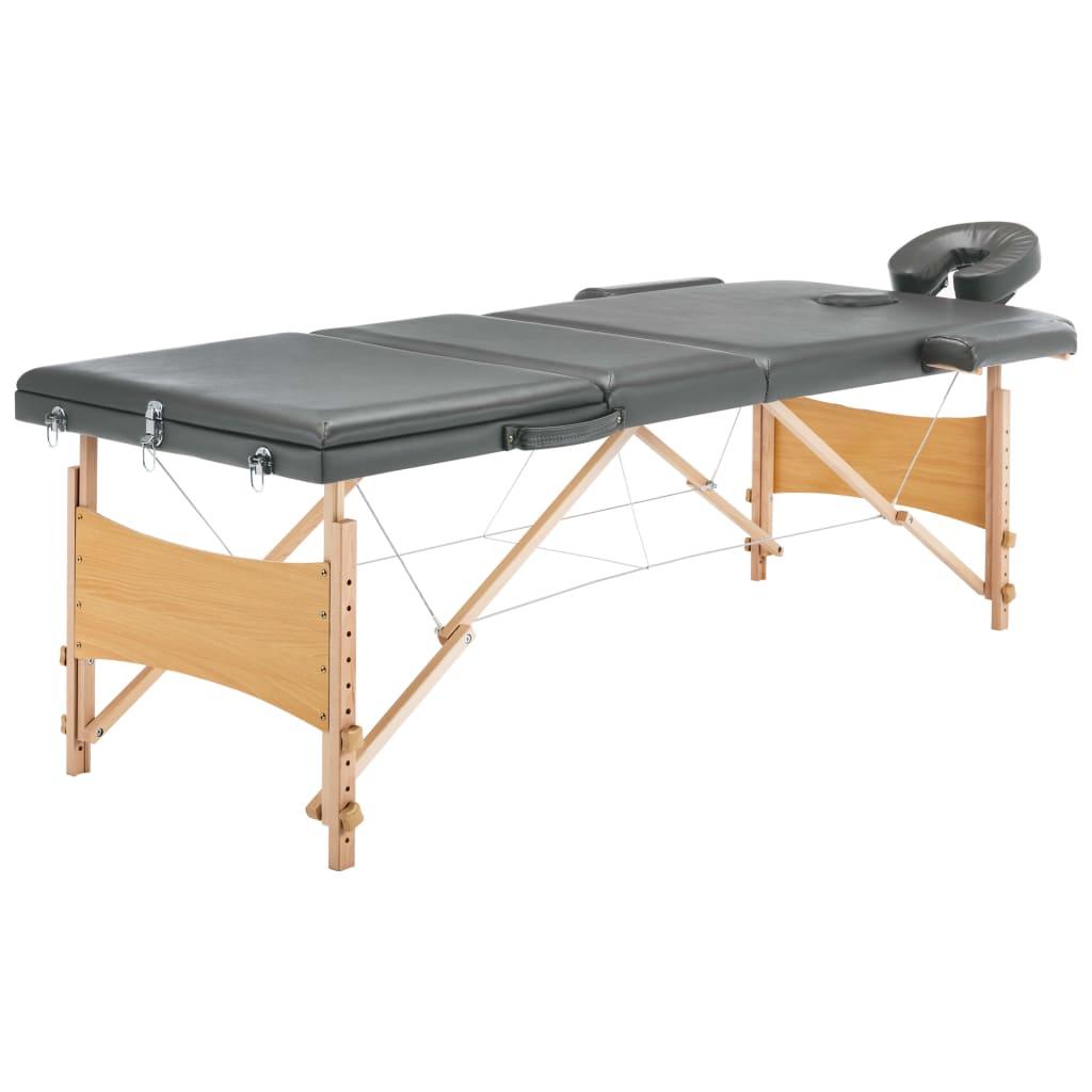 Masážní stůl se 3 zónami dřevěný rám antracitový 186 x 68 cm