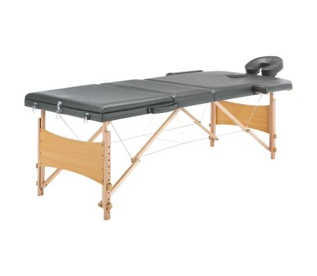 vidaXL Masažinis stalas, 3 zonų, antracito sp., 186x68cm, med. rėmas[1/12]