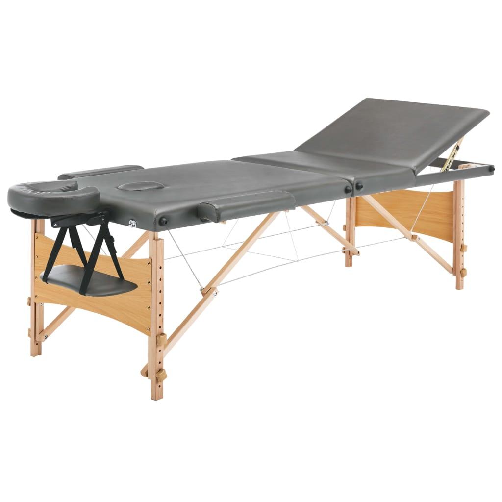 vidaXL Masážní stůl se 3 zónami dřevěný rám antracitový 186 x 68 cm