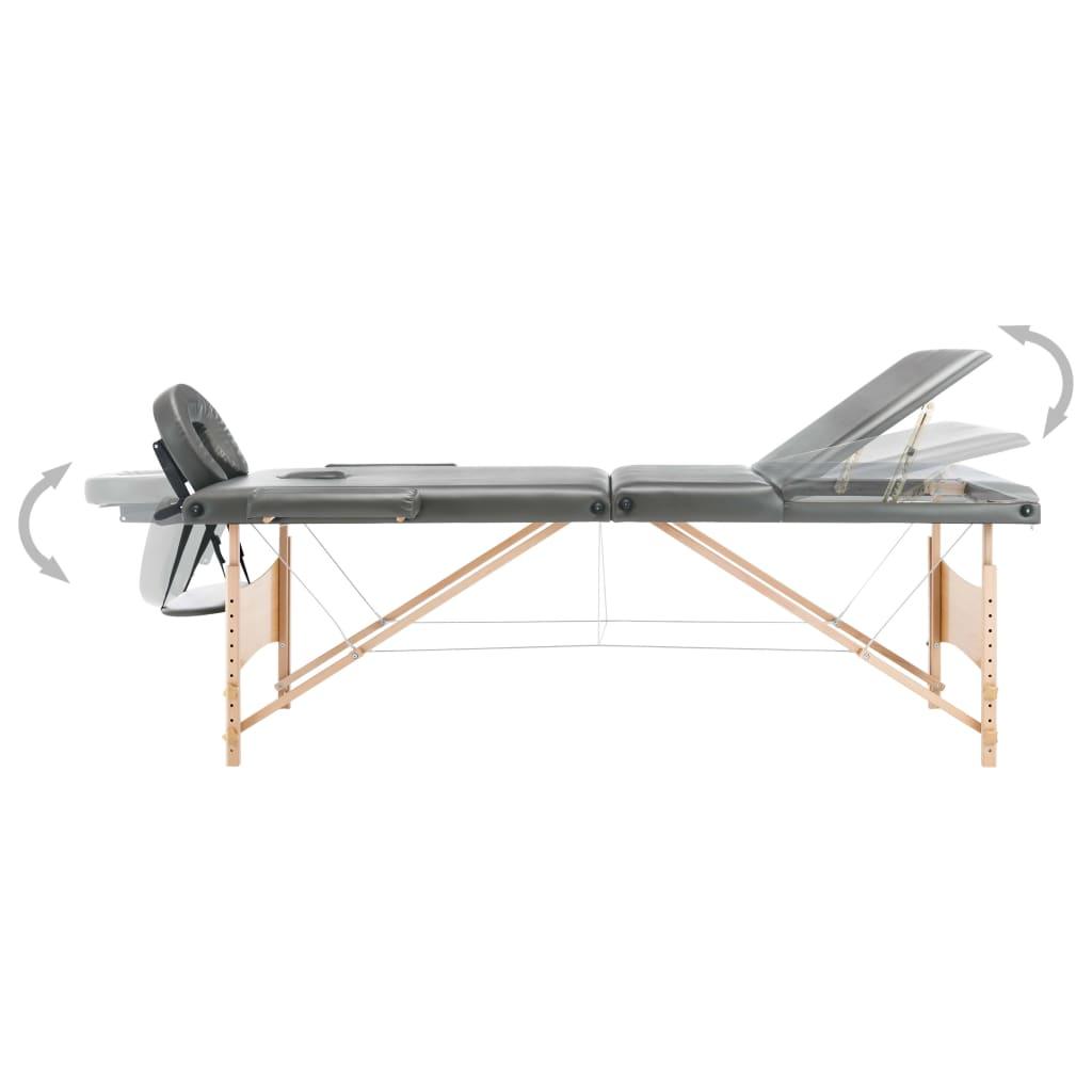 Massaažilaud 3 tsooniga, puitraam, antratsiithall, 186 x 68 cm