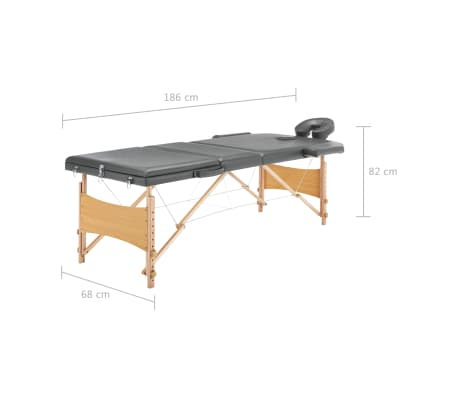 vidaXL Masažinis stalas, 3 zonų, antracito sp., 186x68cm, med. rėmas[12/12]