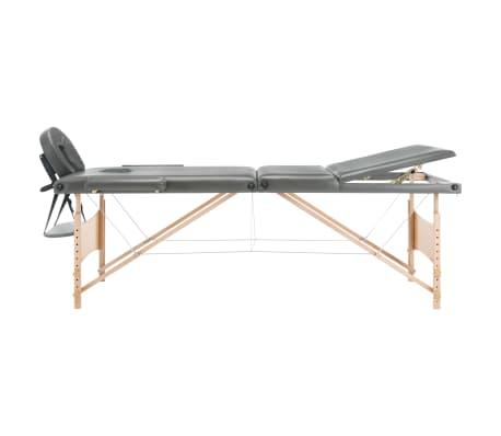 vidaXL Masažinis stalas, 3 zonų, antracito sp., 186x68cm, med. rėmas[4/12]