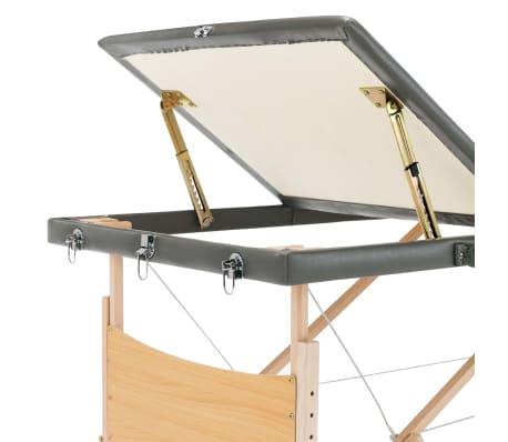 vidaXL Masažinis stalas, 3 zonų, antracito sp., 186x68cm, med. rėmas[7/12]