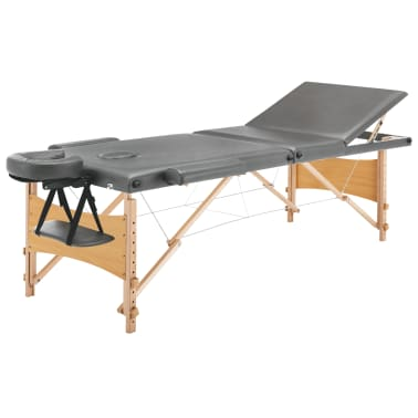 vidaXL Masažna miza s 3 conami lesen okvir antracit 186x68 cm[2/12]