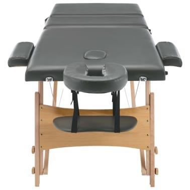 vidaXL Masažinis stalas, 3 zonų, antracito sp., 186x68cm, med. rėmas[5/12]