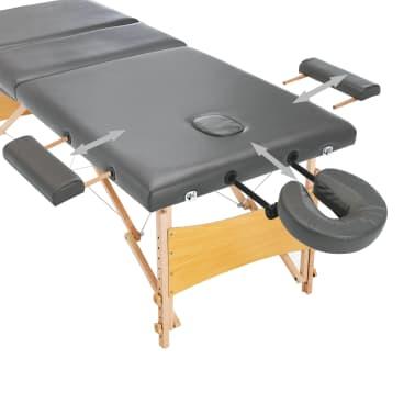 vidaXL Masažinis stalas, 3 zonų, antracito sp., 186x68cm, med. rėmas[9/12]