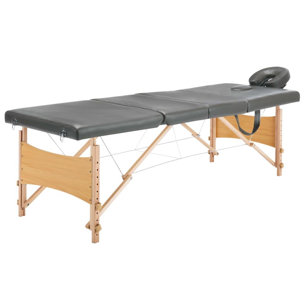 Masážní stůl se 4 zónami dřevěný rám antracitový 186 x 68 cm