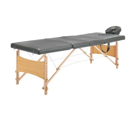 vidaXL Masažinis stalas, 4 zonų, antracito sp., 186x68cm, med. rėmas