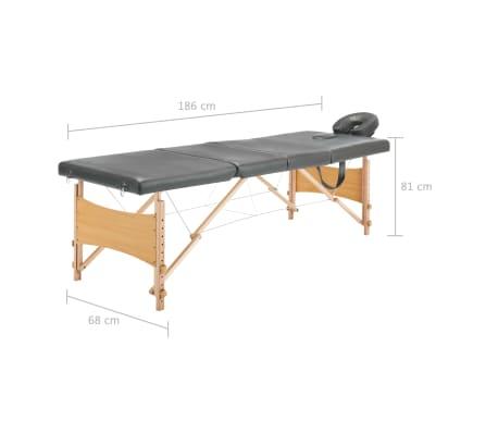 vidaXL Masažinis stalas, 4 zonų, antracito sp., 186x68cm, med. rėmas[12/12]
