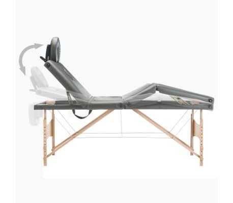 vidaXL Masažinis stalas, 4 zonų, antracito sp., 186x68cm, med. rėmas[6/12]