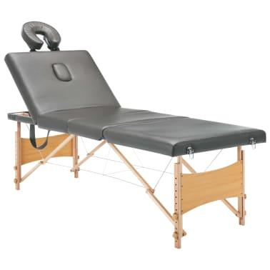 vidaXL Masažinis stalas, 4 zonų, antracito sp., 186x68cm, med. rėmas[2/12]