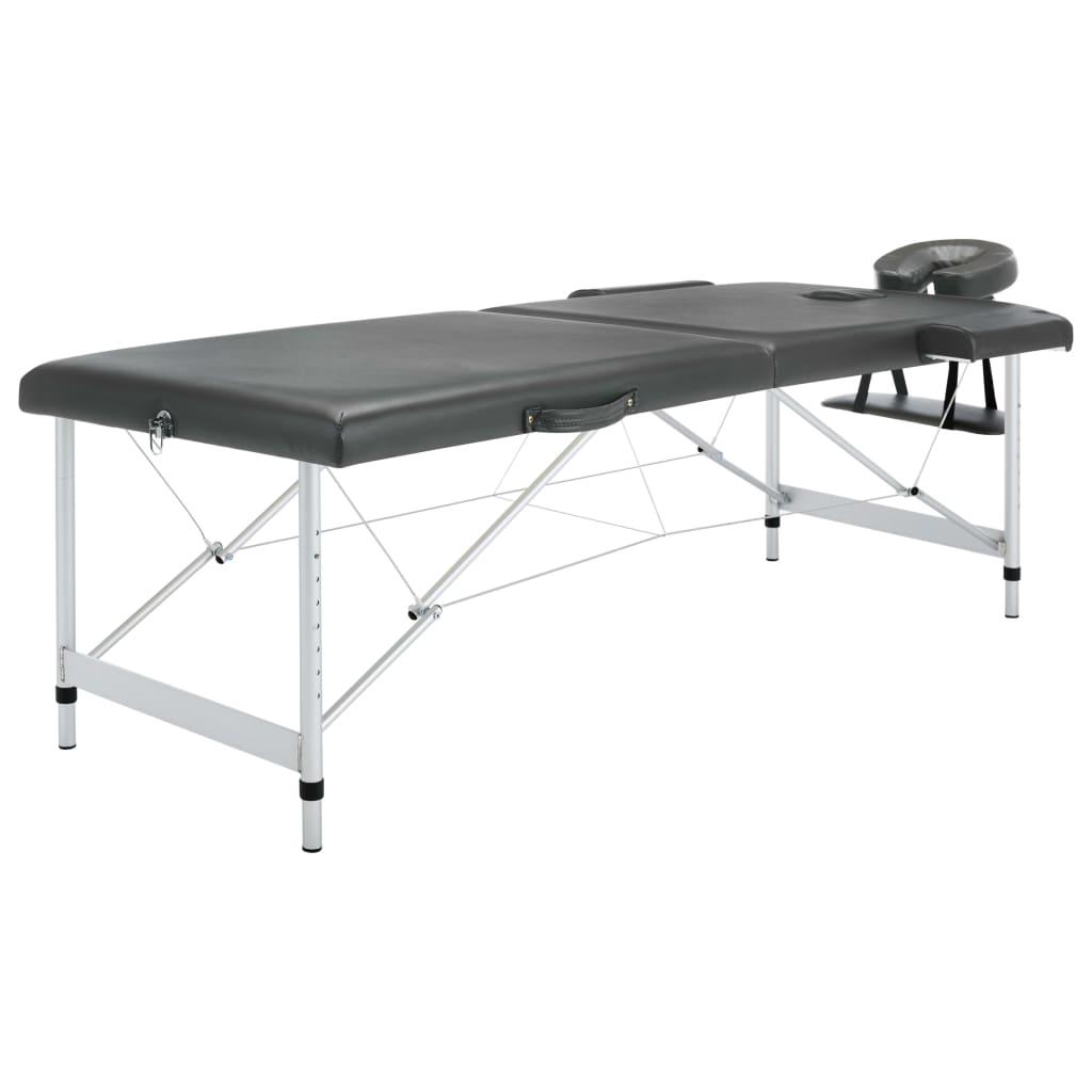 Masážní stůl se 2 zónami hliníkový rám antracitový 186 x 68 cm