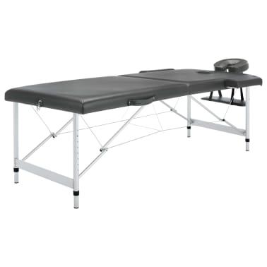 vidaXL Masă de masaj cu 2 zone, cadru aluminiu, antracit, 186 x 68 cm[1/10]