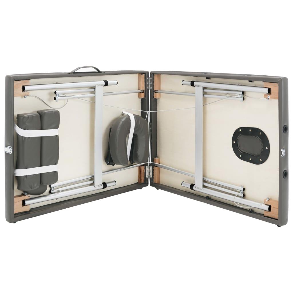 Massaažilaud 2 tsooniga, alumiiniumraam, antratsiit 186 x 68 cm