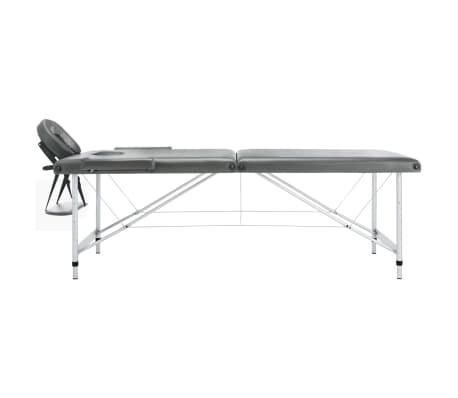 vidaXL Masă de masaj cu 2 zone, cadru aluminiu, antracit, 186 x 68 cm[2/10]