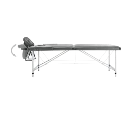 vidaXL Masă de masaj cu 2 zone, cadru aluminiu, antracit, 186 x 68 cm[4/10]