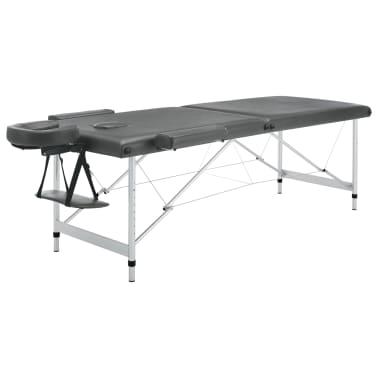 vidaXL Masă de masaj cu 2 zone, cadru aluminiu, antracit, 186 x 68 cm[3/10]