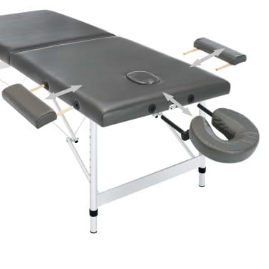 vidaXL Masă de masaj cu 2 zone, cadru aluminiu, antracit, 186 x 68 cm[7/10]