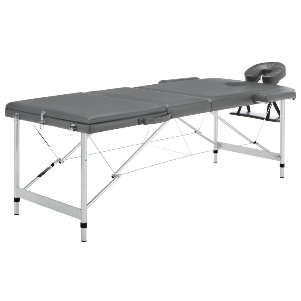 vidaXL Masă de masaj cu 3 zone, cadru aluminiu, antracit, 186 x 68 cm vidaxl.ro