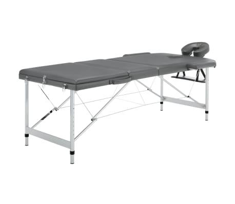 vidaXL Masă de masaj cu 3 zone, cadru aluminiu, antracit, 186 x 68 cm[1/12]