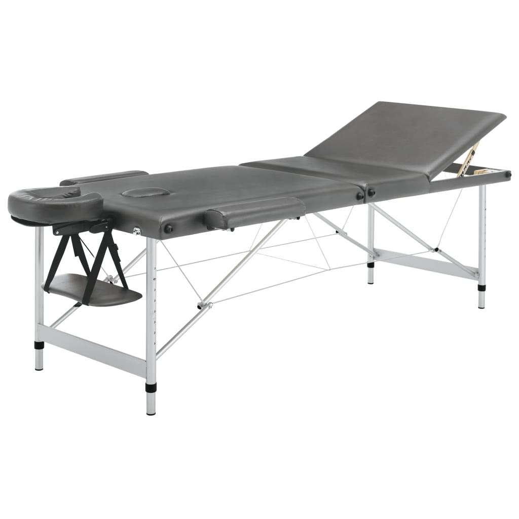 vidaXL Masážní stůl se 3 zónami hliníkový rám antracitový 186 x 68 cm