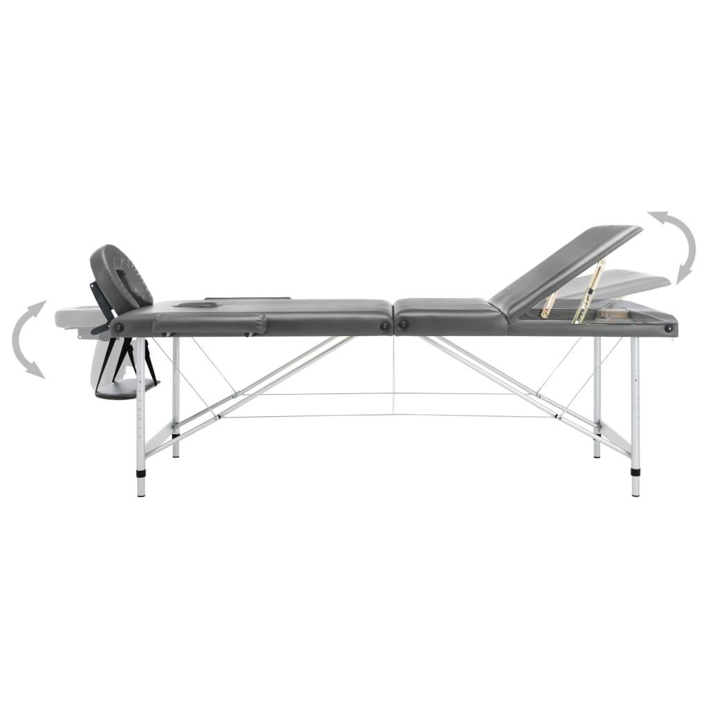 Massaažilaud 3 tsooniga, alumiiniumraam, antratsiit 186 x 68 cm