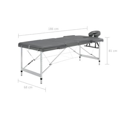 vidaXL Masă de masaj cu 3 zone, cadru aluminiu, antracit, 186 x 68 cm[12/12]