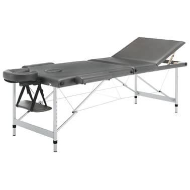 vidaXL Masă de masaj cu 3 zone, cadru aluminiu, antracit, 186 x 68 cm[2/12]
