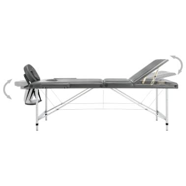 vidaXL Masă de masaj cu 3 zone, cadru aluminiu, antracit, 186 x 68 cm[5/12]