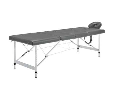 vidaXL Masažna miza s 4 conami aluminijast okvir antracit 186x68 cm